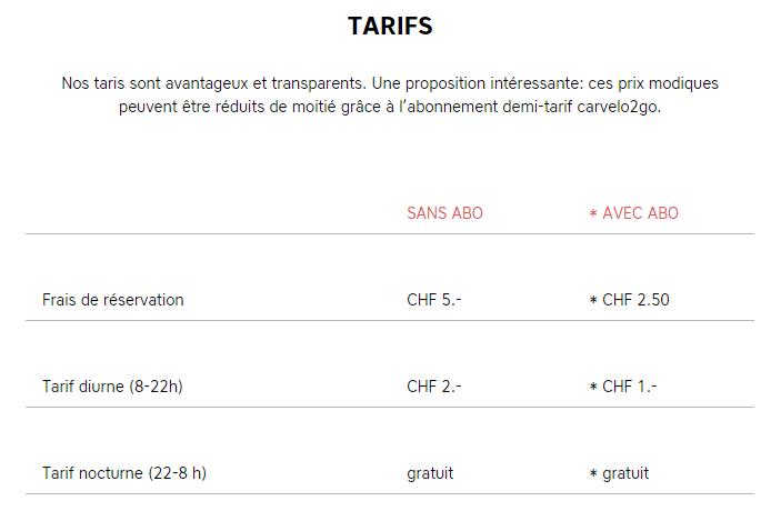 Tarifs - Vélocar2go Lausanne